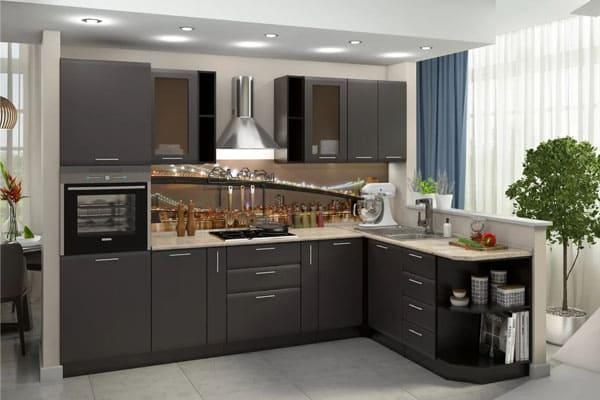Кухонный гарнитур прямой для большой кухни
