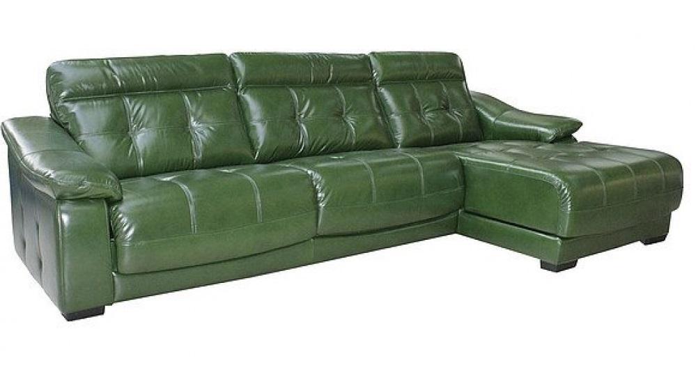 Зеленый угловой диван из кожи