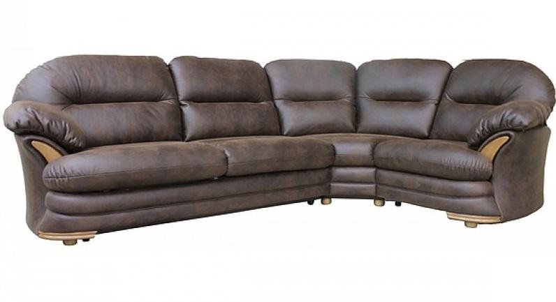 Коричневый строгий диван из кожи