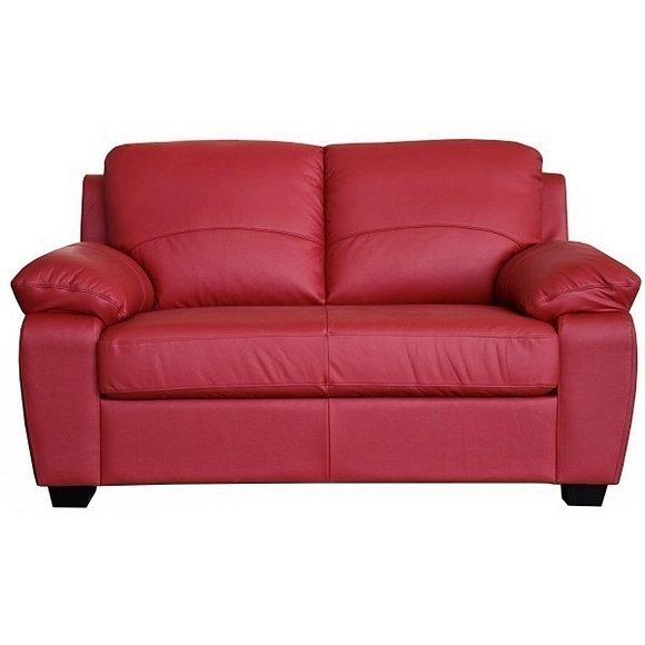 Кожаный красный матовый диван